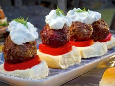 Greek Lamb Meatball Sliders with Tzatziki recipe from Guy Fieri via Food Network