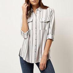 Grijs gestreept casual overhemd - Overhemden - tops - dames