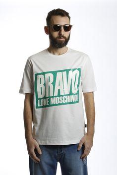 T-SHIRT+STAMPA+BRAVO+WHITE+MOSCHINO+LOVE