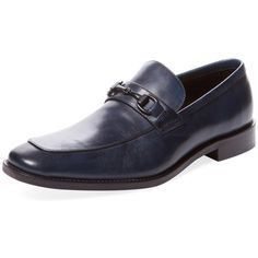 Marco Vittorio Men's Leather Horsebit Loafer - Dark Blue/Navy - Size... ($99) ❤ liked on Polyvore featuring men's fashion, men's shoes, men's loafers, mens navy shoes, mens loafer shoes, mens leather shoes, mens leather loafers and navy blue mens shoes Mens Leather Loafers, Mens Loafers Shoes, Men's Leather, Loafer Shoes, Men's Shoes, Dress Shoes, Navy Blue Shoes, Dark Blue, Men's Fashion