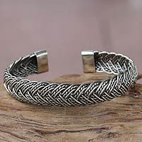 Sterling silver cuff bracelet, 'In Braids'