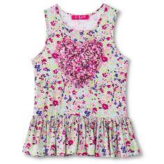 Toddler Girls' Sequin Heart Floral Drop Waist Tunic - Beachball Pink