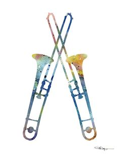 Trombone Abstract Watercolor Painting Music by 1GalleryAbove