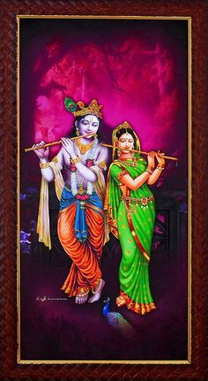 Radha Krishna Playing Flute - Table Top and Wall Hanging Pictures (Screen Print on Board - Framed) Lord Krishna Images, Radha Krishna Pictures, Radha Krishna Photo, Krishna Art, Sri Krishna Photos, Radhe Krishna Wallpapers, Lord Krishna Hd Wallpaper, Krishna Leela, Cute Krishna