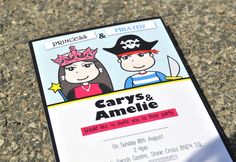 Princess & Pirates Themed Party Invitations - Love em!  From www.honeyapple.co.uk