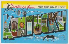 Greetings from Kentucky! Fun and colorful large letter style greeting postcard with scenes of Kentucky, The Blue Grass State, a hillbilly at top, horse in pasture, state capitol and Lincoln scenes within the large letters, these are fun to use in travel scrapbooks and craft projects!    Standard size, approx. 3 1/2 x 5 1/2, fair condition for its age, postally unused, with worn corners and edges, the upper right corner has a crease and imprints in each corner from being held in an album…