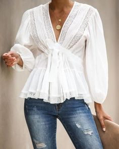 Casual Pailletten Solide Kant Lange Mouwen Polyester V-hals Blouses, veryvoga Top Streetwear, Blouses For Women, Casual, Ideias Fashion, Trends, V Neck, Long Sleeve, Short Sleeves, Womens Fashion