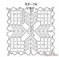 Crochet Stitches Chart, Crochet Square Patterns, Crochet Blocks, Crochet Diagram, Crochet Round, Crochet Squares, Love Crochet, Crochet Granny, Crochet Motif