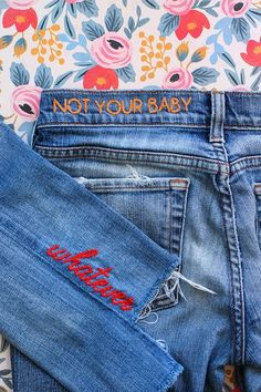 For months, I was excited to try my hand at denim embroidery but could never figure out how without freehanding under a sewing machine, unsuccessfully tracing or using my horrible penmanship as an adequate enough pattern. I was stumped. Determined to find a way to transfer a pattern or letters