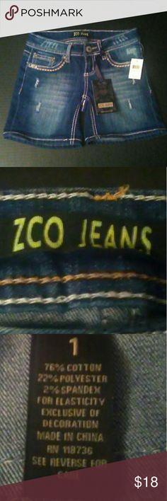 ZCO blue jean size 1 shorts NWT Cute NWT ZCO blue jean shorts ZCO Shorts Jean Shorts