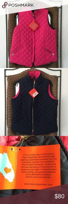 NWT - Tracy Negoshian Amelia Vest Reversible pink/navy.  No fabric tags.  See photos for measurements. Tracy Negoshian Jackets & Coats Vests