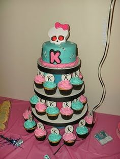 Monster high cake and cupcakes! @Mary Durbin