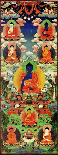 Aksobhya holds up 'the mirror of wisdom to show us the truth of things, to let us see ourselves as we are, undistorted.  Then he tapped the earth, to remind us that we shall find truth not in our ideas about things but in direct experience.'  Vessantara 'A Guide to the Buddhas'