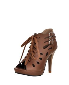 Hollow-out Lace-up Peep-toe High-heel Sandals