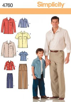 Simplicity 4760 Boys & Men Shirts & Pants Sewing Pattern