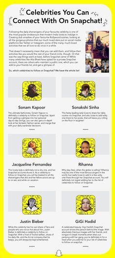Check out top 10 Celebrities to follow on Snapchat. Be on the friend's list of Alia Bhatt, Rihanna, Sonam Kapoor, Sonakshi, etc. & know their daily routine.