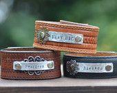 Pray Big, Fearless, Blessed leather cuff bracelet, Metal stamped bracelet, Love Squared Designs