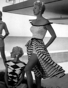 Harlequin, polkadots and stripes~photo by Nina Leen 1955~~♛