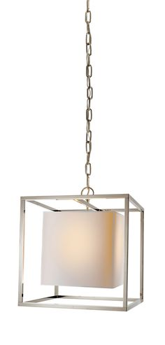 """16"""" square. Too big for space? Paper shade okay in kitchen area?SMALL CAGED LANTERN WITH PAPER SHADE"""