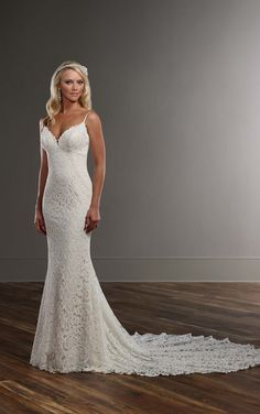 Graphic Lace Wedding Dress With Straps