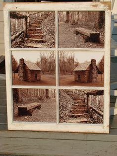 sepia prints in old window frame..could work with sports or beer logos for basement.