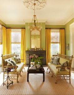 A parlor with faux bamboo Regency benches in New Orleans