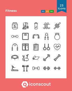 Fitness Icon Pack - 25 Line Icons Create Icon, Fitness Icon, Png Icons, Icon Pack, Line Icon, Icon Font, Outline, Packing, Gym