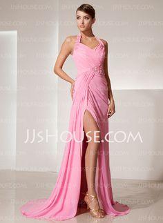 Prom Dresses - $142.99 - Sheath Halter Sweep Train Chiffon Prom Dress With Ruffle Beading Flower(s) (018014469) http://jjshouse.com/Sheath-Halter-Sweep-Train-Chiffon-Prom-Dress-With-Ruffle-Beading-Flower-S-018014469-g14469