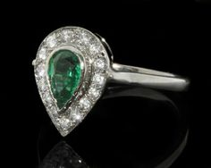 Art Deco Pear Emerald Halo Ring MTC016