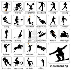 Vector set of 27 sport silhouettes. Ai, eps, psd, high jpeg and transparent png files included in the zip file. Each silhouette Silhouette Images, Silhouette Vector, Silhouette Cameo, Jasmine Drawing, Shadow Theatre, Architecture People, Black Shadow, Shadow Puppets, In Kindergarten