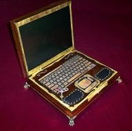 Steampunk Lap top. Yeah. I want one. old school vs new