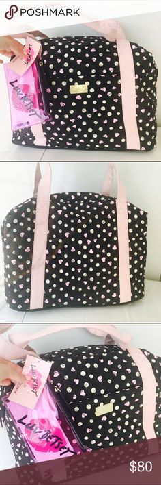 💕Betsey Johnson Polka Hearts Weekender/Travel Bag Brand new with tag! Spacious and comfy quilted soft material.  Come with a detachable  mini accessories bag. Love this! Betsey Johnson Bags Travel Bags