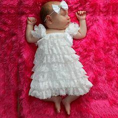 Vestidos brancos do bebê recém-nascido batismo princesa