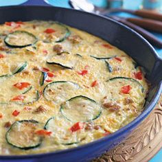 A hearty frittata like this sausage and vegetable one makes a great breakfast or addition to the picnic basket. #recipes