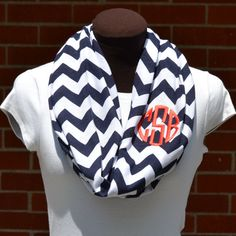 Super cute and preppy trend that will look great year round, especially game day! This CUTE infinity scarf includes personalization in your choice of font and color. Get yours at www.thepreppypair.storenvy.com