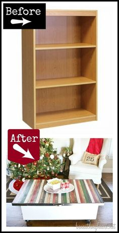 Bookcase Turned Yard Stick Coffee Table {diy Wayfair Challenge