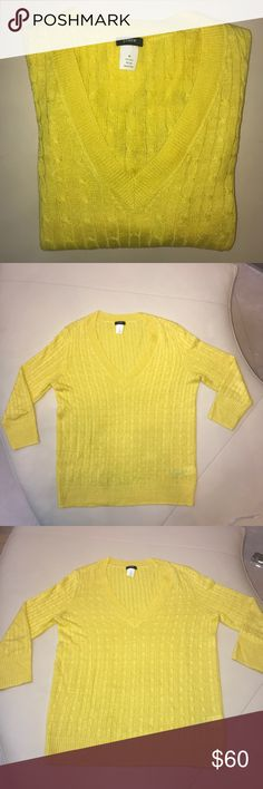 J.Crew Bright Yellow Linen Cable V-Neck Sweater 💜 J.Crew Bright Yellow Linen Cable V-Neck Sweater 💜  Size medium   Beautiful yellow color, pictures don't do it justice!   100% linen   Fabulous condition! J. Crew Sweaters V-Necks