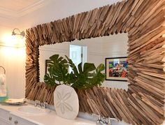 Make a coastal or nautical mirror the focal point of a room -the selection is wide and diverse. Nautical Mirror, Nautical Home, Driftwood Mirror, Driftwood Crafts, Coastal Mirrors, Nautical Bathrooms, Beach Room, House In The Woods, Diy Bedroom Decor
