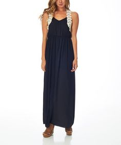 Black Crochet-Back Maxi Dress by Pinkblush #zulily #zulilyfinds