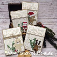 Schokolinsenadventskalender mit ausgestochen weihnachtlich von Stampin'Up Weihnachtspotpourrie und Zweigen