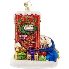 Christopher Radko Letters to Santa Mid-Year Collectible Ornament ($45) ❤ liked on Polyvore featuring home, home decor, holiday decorations, red, glass ornaments, glass santa ornament, father christmas ornament, red home decor and glass home decor