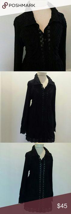 Urban Mango shirt dress NWOT Gorgeous lace detail 65% cotton  35% polyester Urban Mango Dresses Long Sleeve