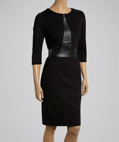 Look at this #zulilyfind! Black Three-Quarter Sleeve Dress by Nina Leonard #zulilyfinds