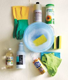 College cleaning supply kit: gloves, disinfecting wipes, paper towels, dusting cloths, sponge, all purpose cleaner, Windex, air freshner, Mr. Clean magic eraser-wet before use, store in bucket