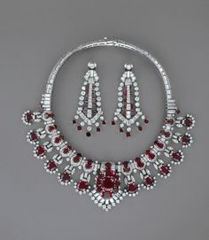 Ruby And Diamond Necklace, Clip And Earrings, Mounted In Platinum, By Cartier   c.1954  -  The British Museum