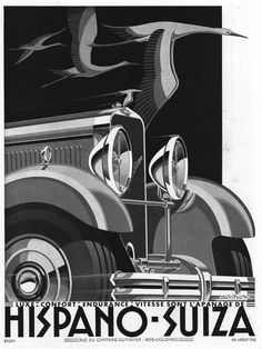 Date: 1929 Artist: Kow Make: Hispano Suiza Type: Advertising poster Size: x Poster Art, Art Deco Posters, Car Posters, Gig Poster, Movie Posters, Vintage Advertisements, Vintage Ads, Vintage Posters, Retro Posters