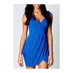 Rotita Tulip Shaped V Neck Wrap Over Blue Mini Dress ($18) ❤ liked on Polyvore featuring dresses, blue, blue dress, short blue dresses, v neck dress, sexy mini dress and sexy wrap dress
