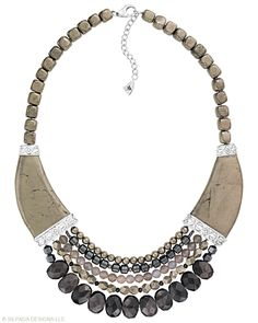 Strand after strand, this gorgeous piece goes with everything! Pyrite, Hematite, Enstatite, Quartz, Sterling Silver.