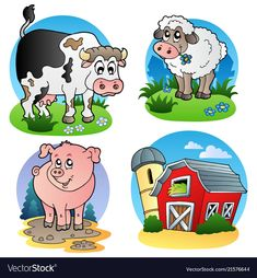 Various farm animals 1 stock vector. Illustration of agriculture - 16987188 Farm Vector, Vector Art, Image Fun, Animal 2, Vector Background, Art Pages, Farm Animals, Illustrations Posters, Coloring Books