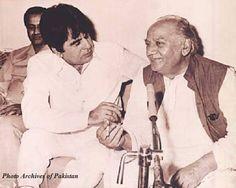 Famous progressive Urdu poet, Faiz Ahmed Faiz, with legendary Indian actor, Dilip Kumar, 1979.
